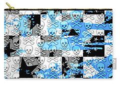 Blue Checker Skull Splatter Carry-all Pouch