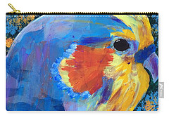 Carry-all Pouch featuring the painting Blue Cockatiel by Donald J Ryker III
