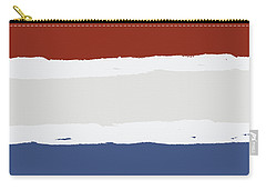 Blue Cream Red Stripes Carry-all Pouch