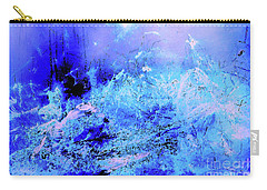 Blue Digital Artwork With Dots And Stripes And Sandstone Finish Carry-all Pouch