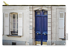 Carry-all Pouch featuring the photograph Blue Door - Paris, France by Melanie Alexandra Price