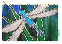 Blue Dragonfly On Reeds With Bluey Green Background Carry-all Pouch