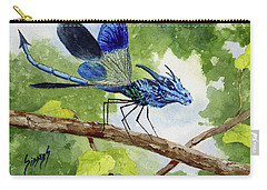 Carry-all Pouch featuring the painting Blue Dragonfly by Sam Sidders