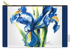 Blue Dutch Iris Flower Painting Carry-all Pouch