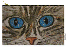 Blue Eyed Tiger Cat Carry-all Pouch by Kathy Marrs Chandler