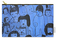 Blue Faces Carry-all Pouch by Maria Iliou