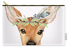Blue Feather Woodland Boho Deer Carry-all Pouch