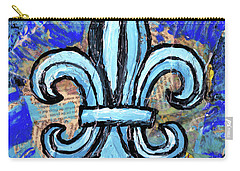 Carry-all Pouch featuring the mixed media Blue Fleur De Lis by Genevieve Esson