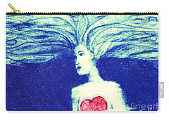 Blue Floating Heart Carry-all Pouch