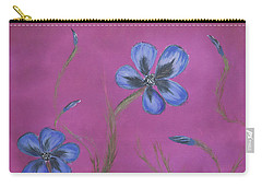 Blue Flower Magenta Background Carry-all Pouch