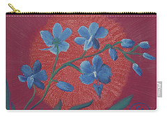 Blue Flower On Magenta Carry-all Pouch