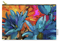 Carry-all Pouch featuring the painting Blue Flowers 2 by DC Langer