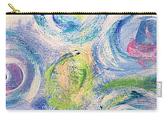 Carry-all Pouch featuring the painting Blue Flowers - Abstract Painting by Cristina Stefan