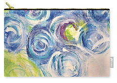 Carry-all Pouch featuring the painting Blue Flowers In A Vase - Painting by Cristina Stefan