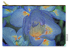 Carry-all Pouch featuring the photograph Blue Freesia's by Lance Sheridan-Peel