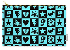 Blue Goth Punk Checkers Carry-all Pouch