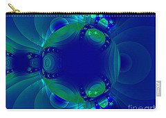 Blue Green Globe Luminant Fractal Carry-all Pouch