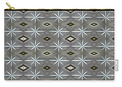 Carry-all Pouch featuring the digital art Blue Grey Diamond Pattern by Ellen Barron O'Reilly