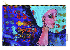 Carry-all Pouch featuring the painting Blue Haired Girl On Windy Day by Claire Bull