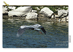 Carry-all Pouch featuring the photograph Blue Heron by Ann E Robson