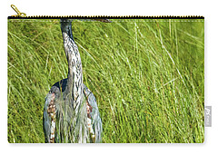 Carry-all Pouch featuring the photograph Blue Heron In A Marsh by Paul Freidlund
