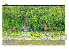 Carry-all Pouch featuring the photograph Blue Heron Landing May 2016.  by Leif Sohlman
