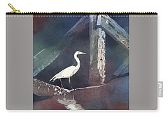 Carry-all Pouch featuring the painting Blue Heron- Outer Banks by Ryan Fox
