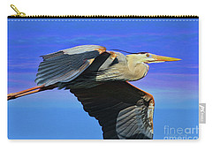 Carry-all Pouch featuring the painting Blue Heron Series Fly by Deborah Benoit