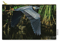 Carry-all Pouch featuring the photograph Blue Heron Series The Pond by Deborah Benoit