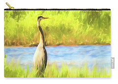 Blue Heron Standing Tall And Alert Carry-all Pouch