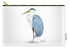 Carry-all Pouch featuring the painting Blue Heron With No Background by Anne Beverley-Stamps