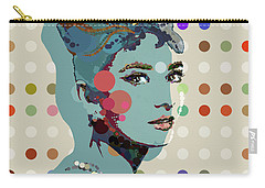 Blue Holly - Audrey Hepburn Spot Painting Carry-all Pouch by Big Fat Arts