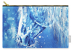 Carry-all Pouch featuring the painting Blue Horse by Zaira Dzhaubaeva