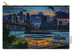 Carry-all Pouch featuring the photograph Blue Hour At Brooklyn Bridge Park by Chris Lord