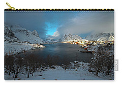 Carry-all Pouch featuring the photograph Blue Hour Over Reine by Dubi Roman
