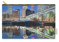 Carry-all Pouch featuring the photograph Blue Hour Square by Frozen in Time Fine Art Photography