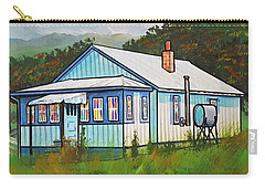 Blue House With Quilted Windows Carry-all Pouch by Jim Harris