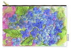 Carry-all Pouch featuring the painting Blue Hydrangea by Cathie Richardson