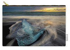 Carry-all Pouch featuring the photograph Blue Ice Stranding by Rikk Flohr