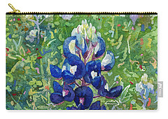 Carry-all Pouch featuring the painting Blue In Bloom 2 by Hailey E Herrera