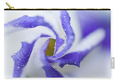Carry-all Pouch featuring the photograph Blue Inspiration. Lisianthus Flower Macro by Jenny Rainbow