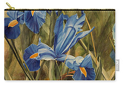 Carry-all Pouch featuring the painting Blue Iris by Laurie Rohner