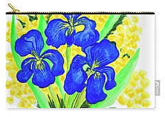 Blue Irises And Mimosa Carry-all Pouch