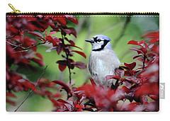 Blue Jay In The Plum Tree Carry-all Pouch by Trina Ansel