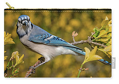 Blue Jay In Yellow Spring Carry-all Pouch