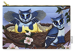 Carry-all Pouch featuring the painting Blue Jay Kittens by Carrie Hawks
