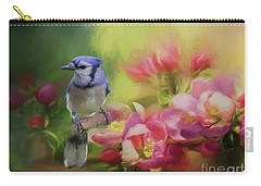 Blue Jay On A Blooming Tree Carry-all Pouch by Eva Lechner