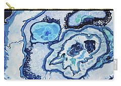 Carry-all Pouch featuring the painting Blue Lace Agate I by Ellen Levinson