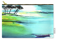 Carry-all Pouch featuring the painting Blue Lagoon by Anil Nene
