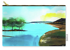 Carry-all Pouch featuring the painting Blue Lake by Anil Nene